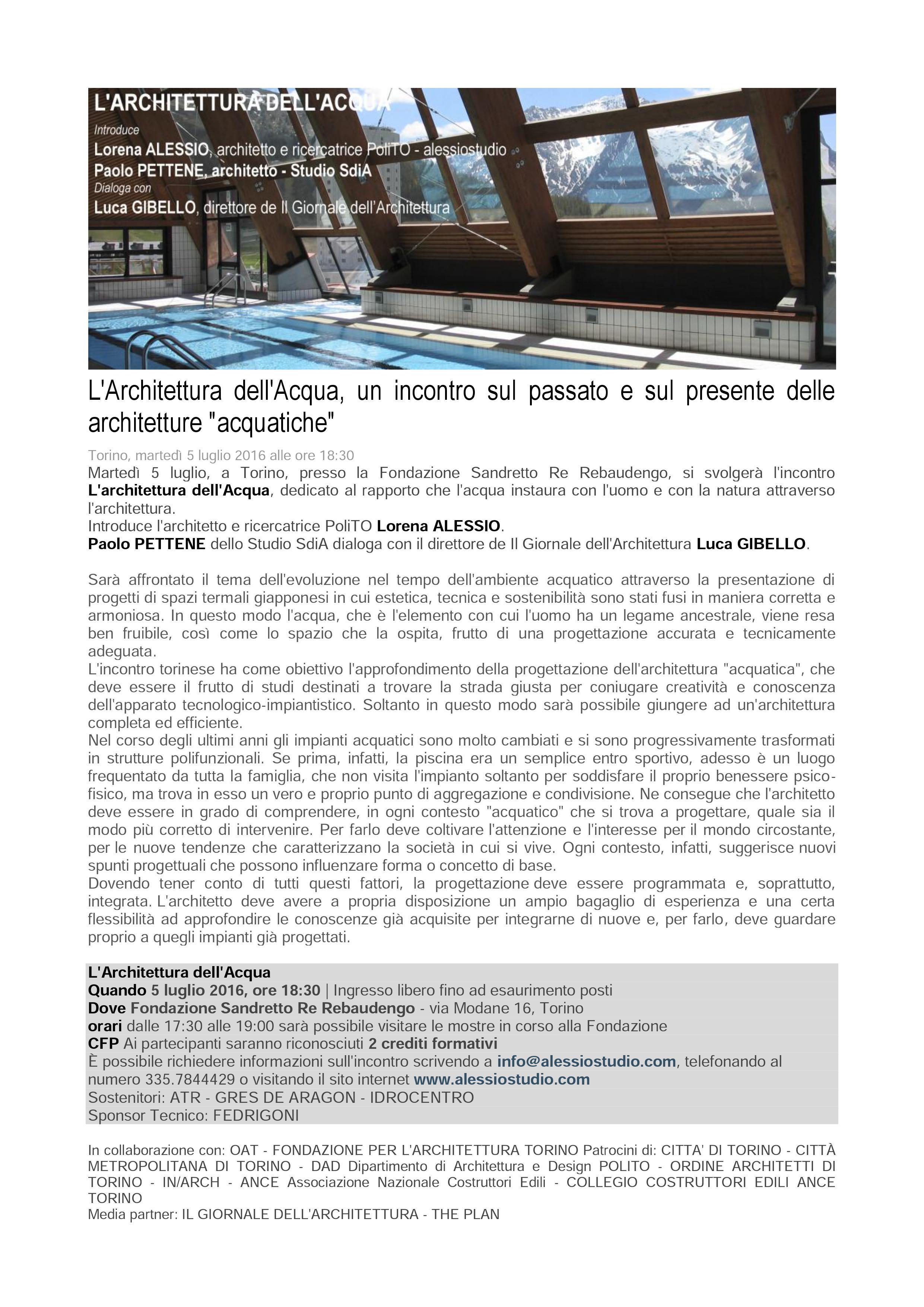 L'ARCHITETTURA DELL'ACQUA – Meeting